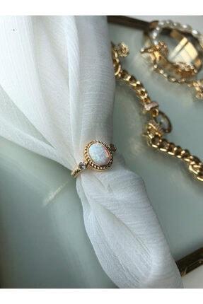 MİSSHİNG Beyaz Opal Taş Ayarlanabilir Gold Yüzük 0