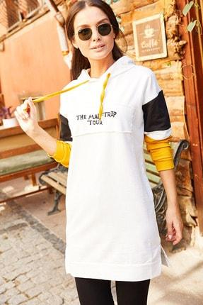 armonika Kadın Ekru Kolu Şeritli Önü Yazılı Kapişonlu Tunik Arm-20Y103001 1