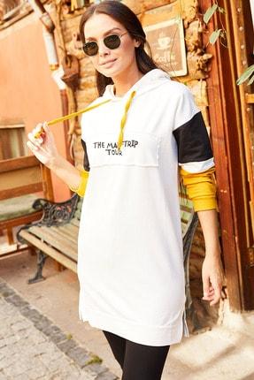 armonika Kadın Ekru Kolu Şeritli Önü Yazılı Kapişonlu Tunik Arm-20Y103001 2