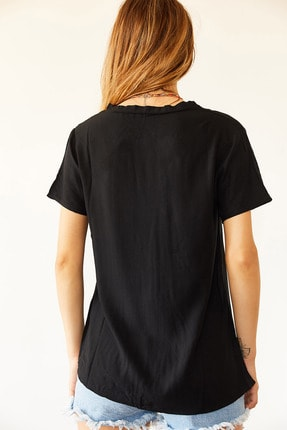 XHAN Kadın Siyah V Yaka Bluz 2