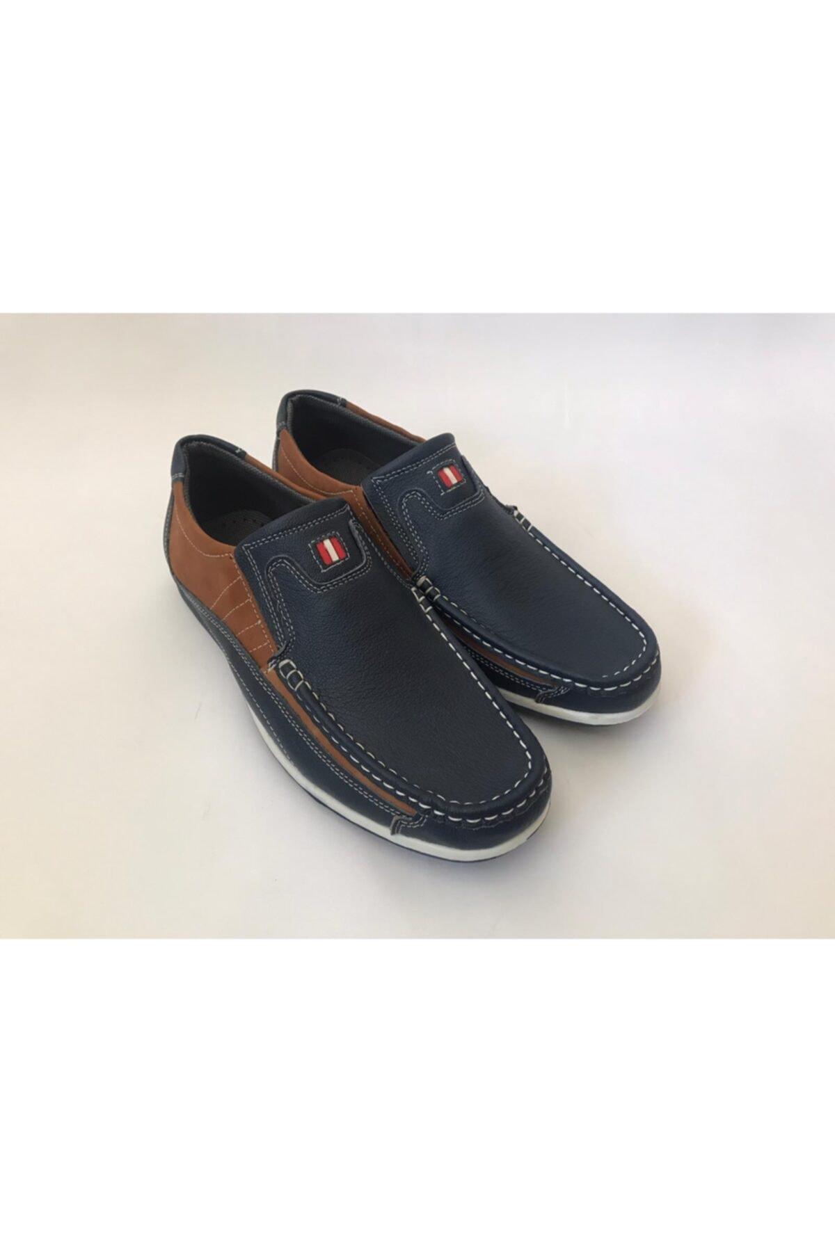 Erkek Lacivert Taba  Deri Ayakkabı