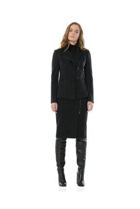 BİRELİN Kadın Lacivert Çizgili Yarım Fermuar Corine Ceket 3