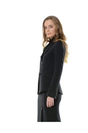 BİRELİN Kadın Lacivert Çizgili Yarım Fermuar Corine Ceket 4