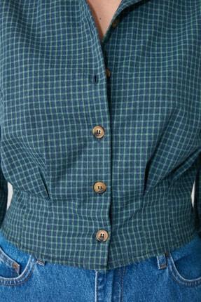TRENDYOLMİLLA Lacivert Düğme Detaylı Gömlek TWOAW21GO0234 3