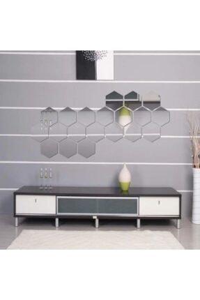 Artanhediyelik Bal Peteği Gümüş Dekoratif Altıgen 12x Süs Akrilik Ayna 11x12,5cm Antre Duvar Pleksi Yapışkan Bantlı 2