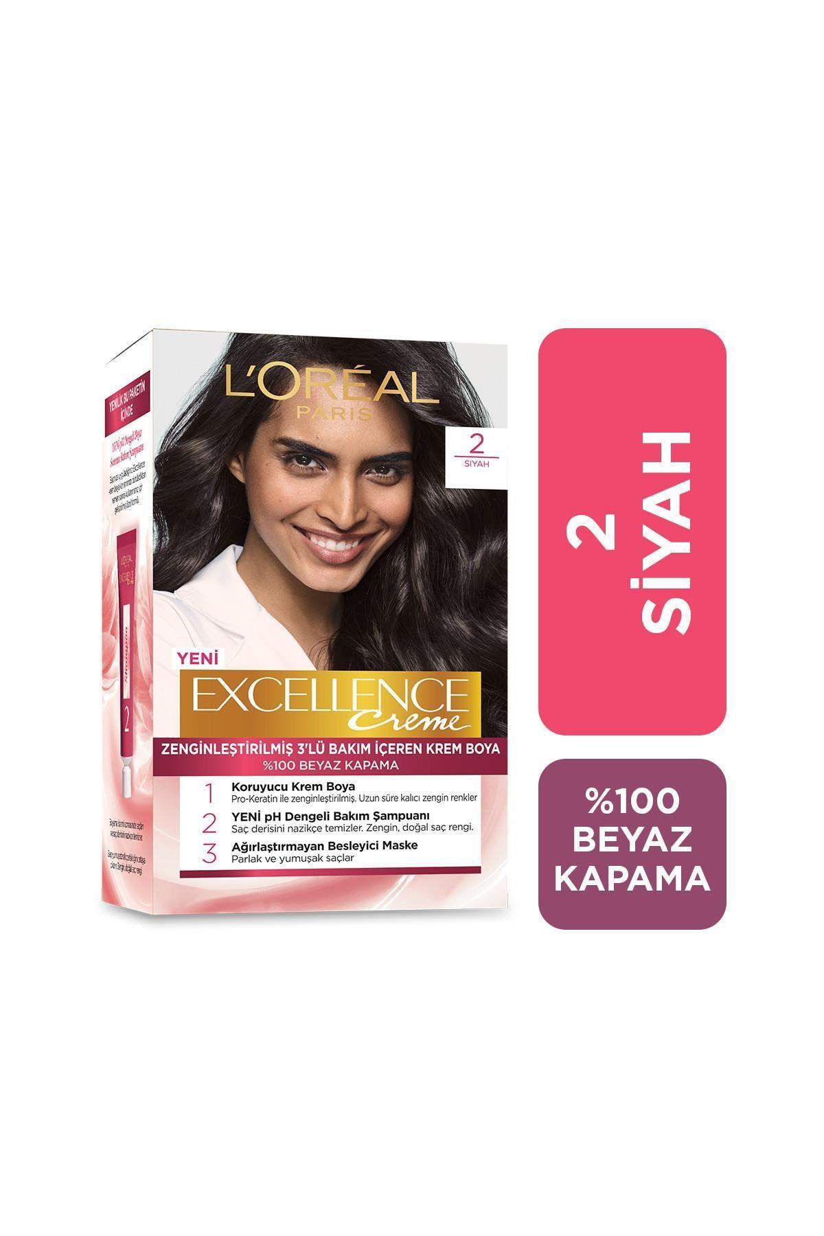 L'Oreal Paris Saç Boyası - Excellence Creme 2 Siyah 3600523425785 0