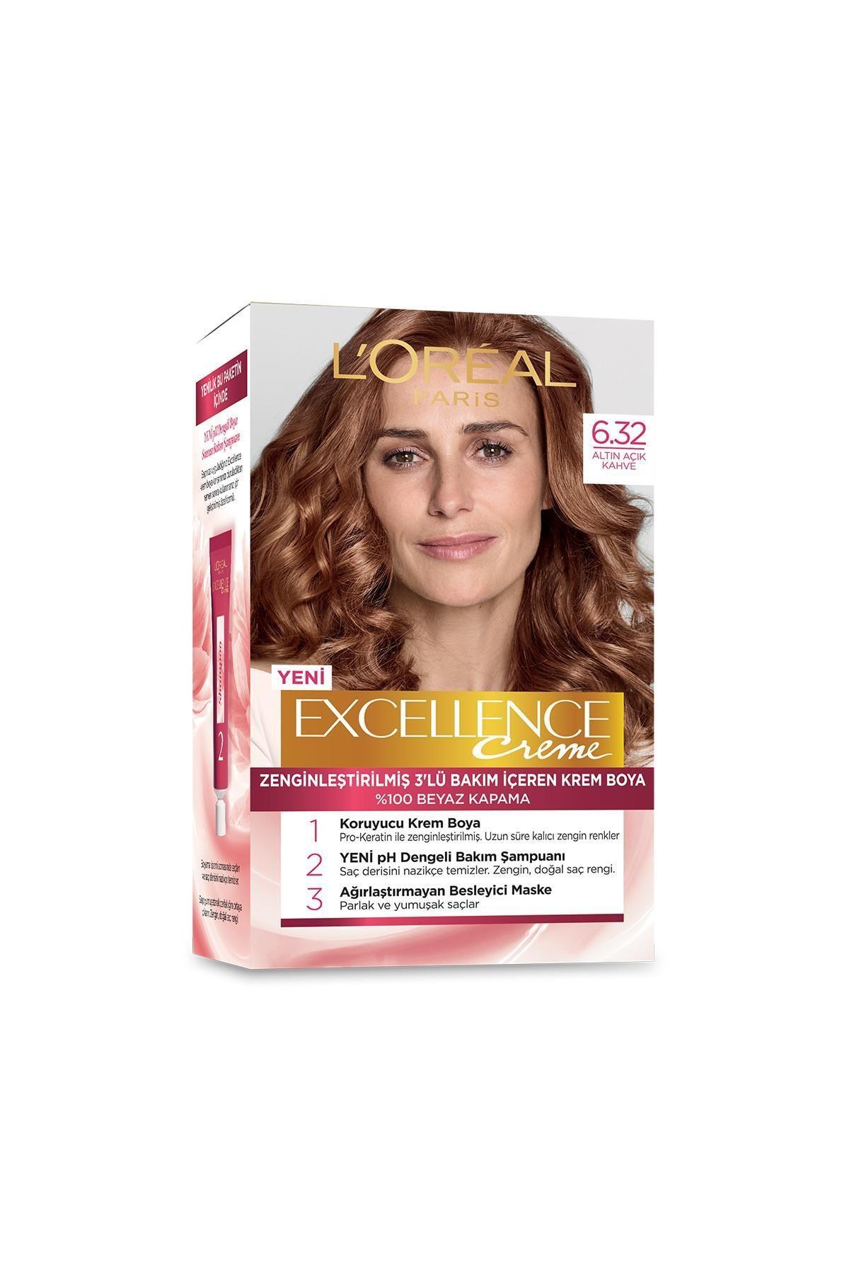 L'Oreal Paris Saç Boyası - Excellence Creme 6.32 Altın Açık Kahve 3600522378006 1