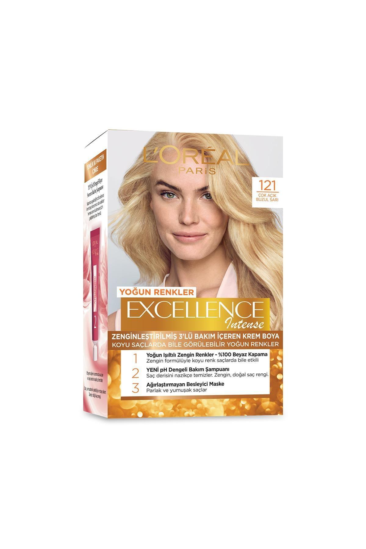 L'Oreal Paris Saç Boyası - Excellence Intense 121 Çok Açık Buzul Sarı 3600523165858 1