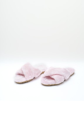OCT Shoes Pembe Çapraz Peluş Ev Terliği 1026 1