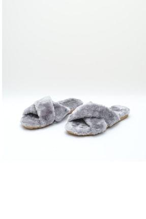 OCT Shoes Gri Çapraz Peluş Ev Terliği 1026 1