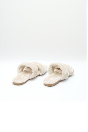 OCT Shoes Krem Düz Peluş Terlik 1027 3