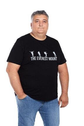 The Everest Mount Büyük Beden Erkek Siyah Bisiklet Yaka Outdoor Baskılı Trekking Tişört 2