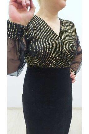 hilaltrend Kadın Siyah Kadife Pulpayet Abiye Elbise 3