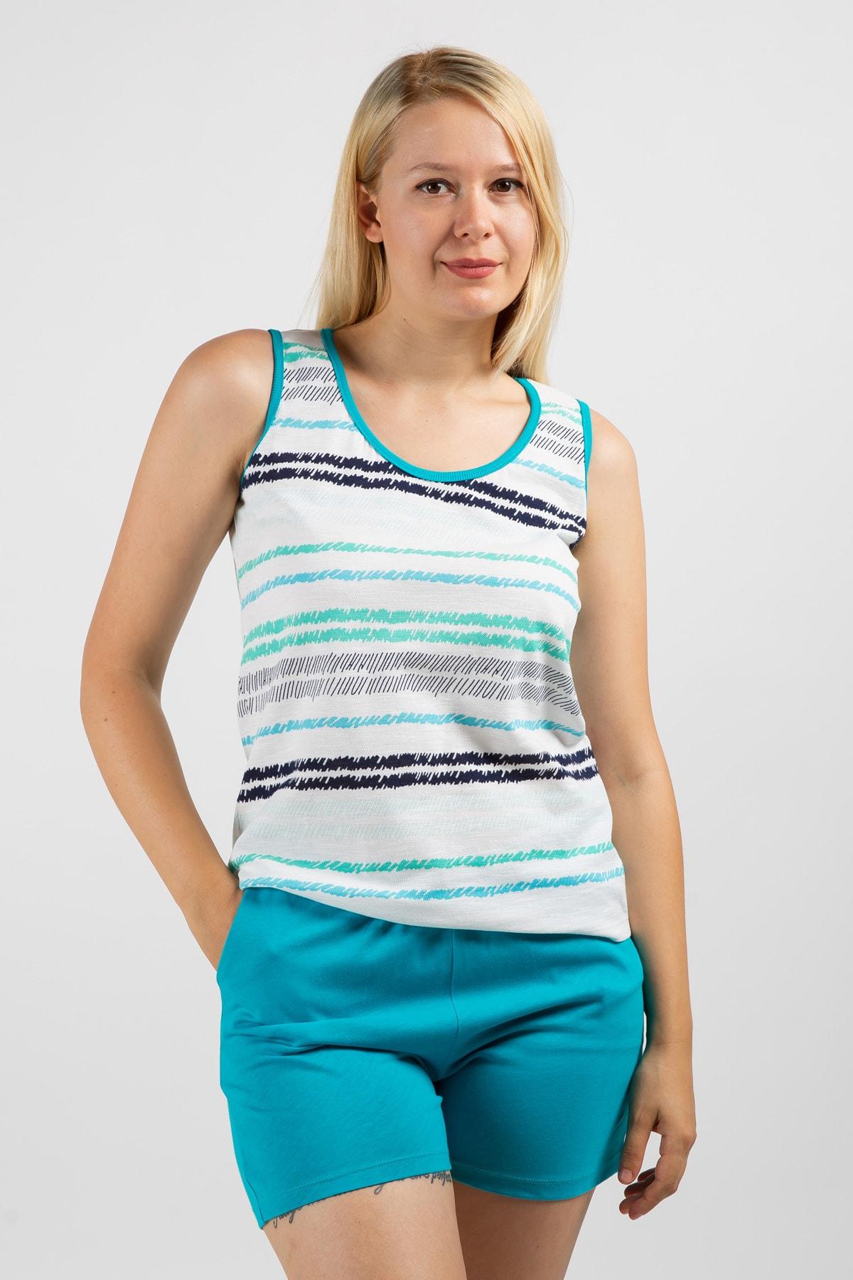 SERAF Kadın Mavi Çizgili Şortlu PijamaTakımı