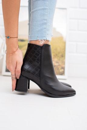 Moda Değirmeni Kadın Siyah Kroko Cilt Bot Md1042-116-0004 1