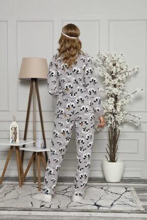 ARCAN Kadın Gri Polar Panda Desenli Nakış Detaylı Göz Bandı ve Çorap Hediyeli Pijama Takımı 3