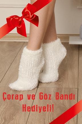 ARCAN Kadın Gri Polar Panda Desenli Nakış Detaylı Göz Bandı ve Çorap Hediyeli Pijama Takımı 4