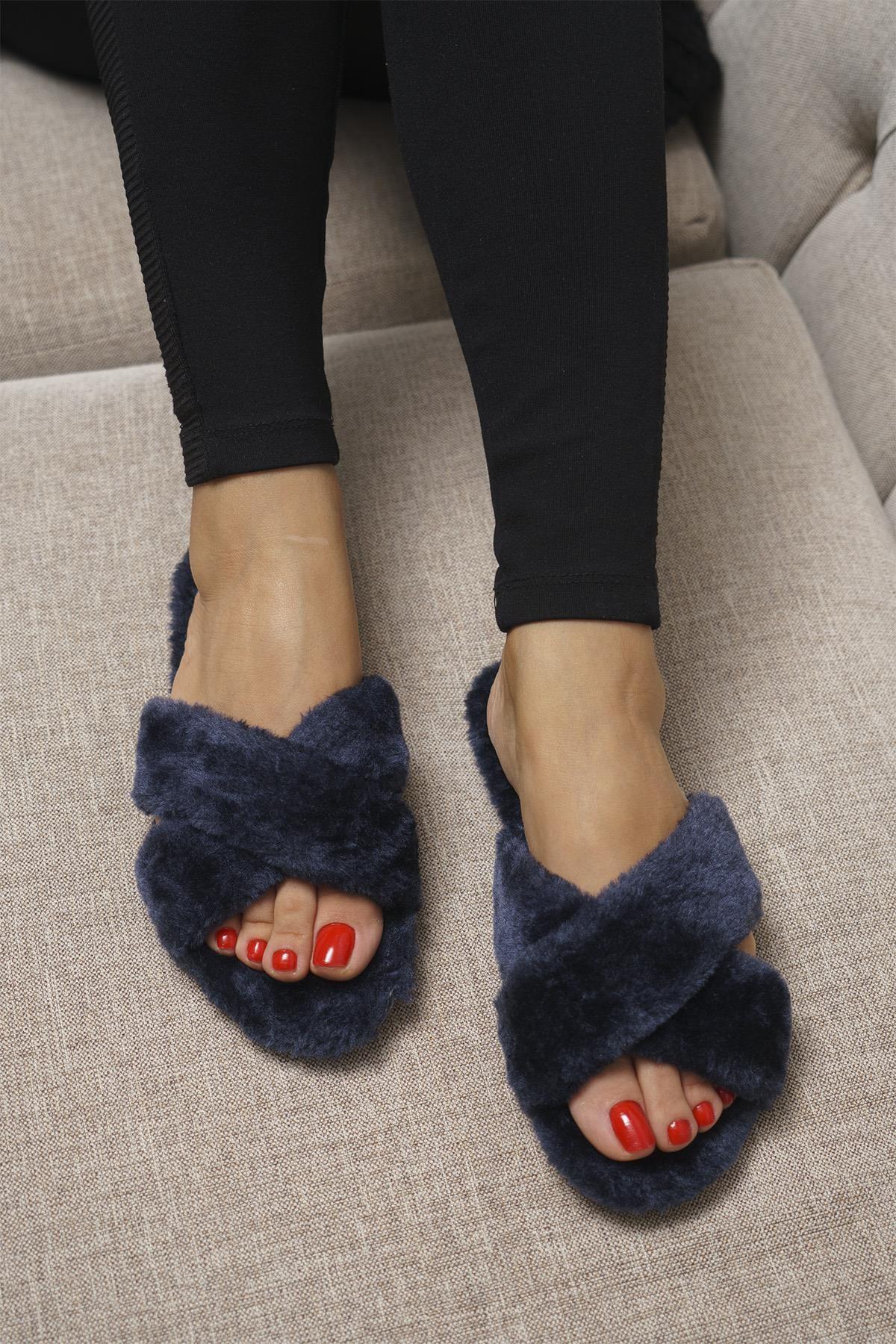 OCT Shoes Lacivert Kadın Terlik TS1026 0