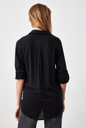 TRENDYOLMİLLA Siyah Basic Gömlek TWOAW20GO0218 3