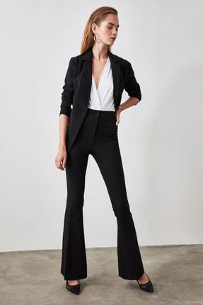 TRENDYOLMİLLA Siyah Yüksek Bel  İspanyol Paça Pantolon TWOAW20PL0094 0