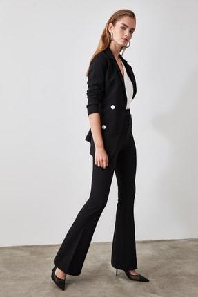 TRENDYOLMİLLA Siyah Yüksek Bel  İspanyol Paça Pantolon TWOAW20PL0094 1