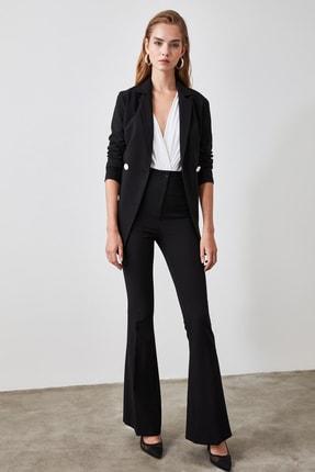 TRENDYOLMİLLA Siyah Yüksek Bel  İspanyol Paça Pantolon TWOAW20PL0094 2