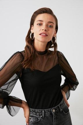 TRENDYOLMİLLA Siyah Tül Örme Bluz TWOAW20BZ1132 0