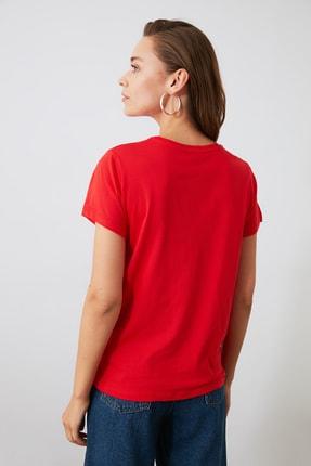 TRENDYOLMİLLA Lacivert Kırmızı ve Çizgili 3'lü Paket %100 Pamuk Bisiklet Yaka Basic Örme T-Shirt TWOSS20TS1479 2