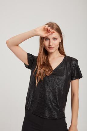 Z GİYİM Kadın V Yaka Parlak Tişört 3