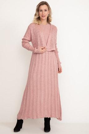 D-Paris Kadın Pudra Rengi Triko Elbise 0