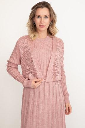 D-Paris Kadın Pudra Rengi Triko Elbise 1