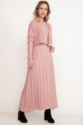 D-Paris Kadın Pudra Rengi Triko Elbise 2