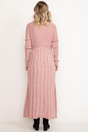 D-Paris Kadın Pudra Rengi Triko Elbise 3