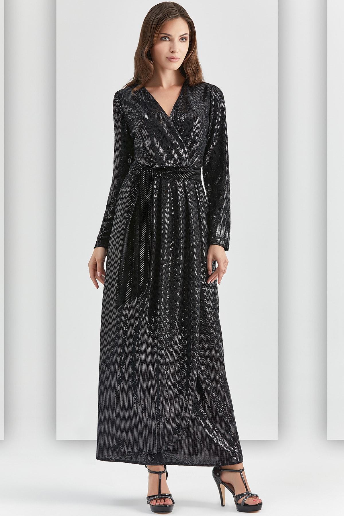 Kadın Siyah Abiye Elbise Guıtar 20528