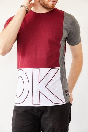 XHAN Erkek Bordo & Beyaz Baskılı T-shirt 0yxe1-44021-05 0