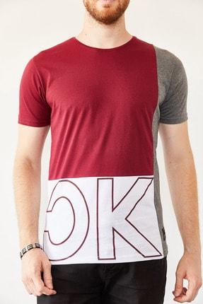 XHAN Erkek Bordo & Beyaz Baskılı T-shirt 0yxe1-44021-05 2