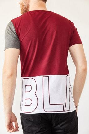 XHAN Erkek Bordo & Beyaz Baskılı T-shirt 0yxe1-44021-05 3