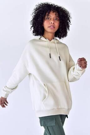 Addax Kadın Beyaz Kapüşonlu Sweat S8641 - S1 - S2 1