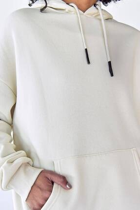 Addax Kadın Beyaz Kapüşonlu Sweat S8641 - S1 - S2 3