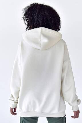 Addax Kadın Beyaz Kapüşonlu Sweat S8641 - S1 - S2 4