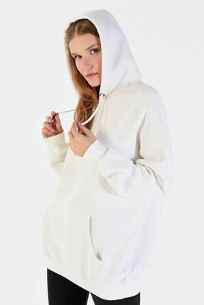 Addax Kadın Ekru Kapüşonlu Sweatshirt  S8641 1