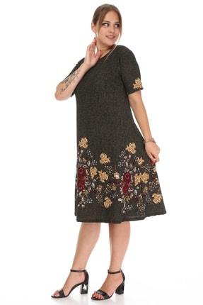 Alesia Kadın Haki Çiçek Desenli Elbise 3