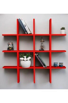 Webotto Dekoratif Çoklu Duvar Rafı Kitaplık Kırmızı 0