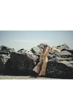 La Fontaine Kadın Beyaz Desenli Kimono 1