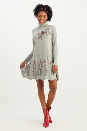 Mio Secret Kadın Dik Yaka Eteği Taşlı Triko Elbise 0