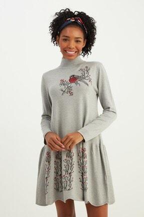 Mio Secret Kadın Dik Yaka Eteği Taşlı Triko Elbise 1