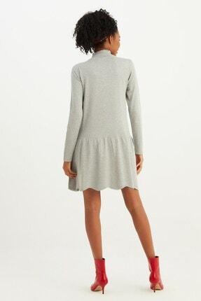 Mio Secret Kadın Dik Yaka Eteği Taşlı Triko Elbise 3