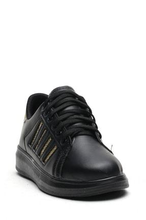 Ayakkabı Modası Kadın Siyah Simli Spor Ayakkabı 4 Bantlı 1