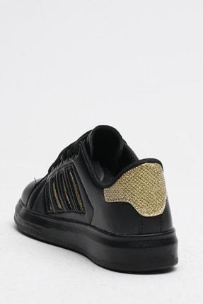Ayakkabı Modası Kadın Siyah Simli Spor Ayakkabı 4 Bantlı 2