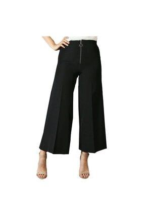 Kadın Siyah Thepantolon Fermuar Detaylı Geniş Paça Pantolon gs001